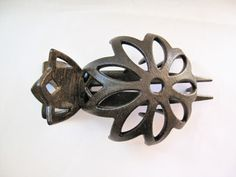 Faux wooden flower hair claw clip bun holder by LindasAccessories