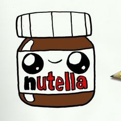 Image of: Cute Love How To Draw Nutella Cute Easy Step By Step Drawing Lessons For Kids Pinterest Cute Nutella Kawaii Draw Dibujo Tierno Каваи Pinterest