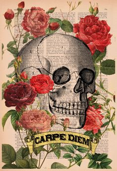 Upcycled Book Print Roses Skull Tattoo CARPE DIEM Print on Vintage Dictionary Book art print. $7.99, via Etsy.