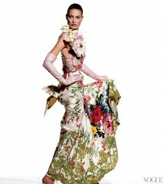 Shalom Harlow enhances the drama of a Christian Lacroix dress. Photographed by Irving Penn, Vogue, April 1995