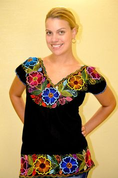 Mexican Embroidered Blouse / Huipil / Tunic from by Vtgantiques, $54.99