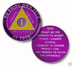 AA Purple Glitter 5 Year Coin Tri-Plate Alcoholics Anonymous Medallion Display