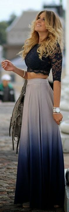 Love it! #Ombre #skirt with little lace top...