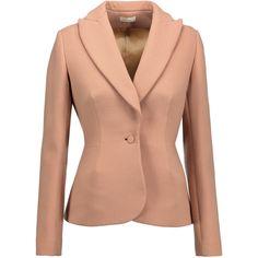 DELPOZO - Textured Wool-blend Blazer (4,125 CNY) ❤ liked on Polyvore featuring outerwear, jackets, blazers, neutral, floral jacket, flower print jacket, blazer jacket, floral blazer and red jacket