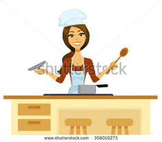 Cartoon woman cooking in a chef's hat and apron holding a wooden spoon and checking a pot.