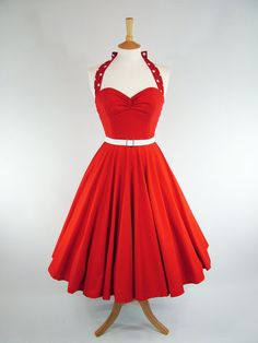 Made to measure red pinup dress with detachable polka-dot (!) straps.  Fun and fabulous!