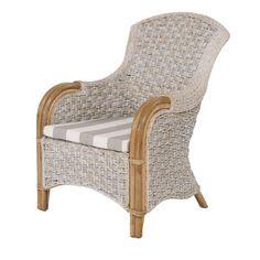 Rotin Design Fauteuil en Rotin Gris - Palermo - Fauteuil de détente Salon - couleur Beige et coussin Gris/blanc - fauteuil de détente - pas cher Achat / Vente Fauteuils - RueDuCommerce
