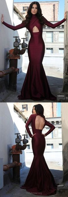 Burgundy Prom Dresses Long, 2018 Prom Dresses For Teens, Trumpet/Mermaid Formal Evening Dresses High Neck, Long Sleeve Pageant Dresses Open Back, Silk-like Satin Party Dresses Ruffles Modest