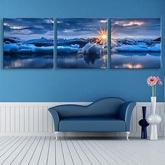 E-HOME® Stretched Canvas Art The Sunrise At Sea Decoration Painting Set of 3 – USD $ 76.99
