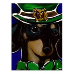 St. Patty Doxie Postcard - st patricks day gifts Saint Patrick's Day Saint Patrick Ireland irish holiday party