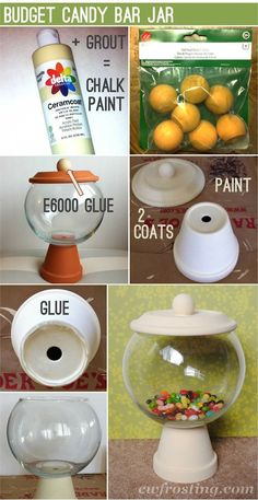 DIY-Ideen: Candy Storages Clay Pot Crafts The post DIY Ideas: Candy Storages Tontopf basteln appeared first on WMN Diy. Clay Pot Projects, Clay Pot Crafts, Crafts To Make, Fun Crafts, Craft Projects, Tree Crafts, Decor Crafts, Candy Jars, Candy Dishes