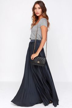 Back in a Minute Navy Blue Maxi Skirt at Lulus.com!