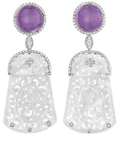 A Pair of Jadeite, Amethyst, and Diamond Ear Pendants by Margherita Burgener. (Via Phillips.)