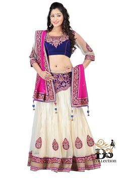 Its A Master Piece In Its Class Glorifying Your Timeless Beauty. Create A Smoldering Impact By This White and Pink  color net Lehenga Choli. This Ravishing Attire Is Amazingly Embroidered With Lace, Multi & Stones Work.