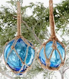 glass float Christmas tree ornaments blue