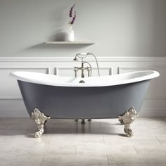 "72"" Lena Cast Iron Clawfoot Tub - Monarch Imperial Feet - Dark Gray"