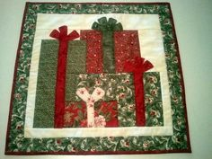Quilted CHRISTMAS HOLIDAY PRESENTS table runner or by AuntiJoJos, $30.00