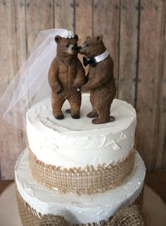 This. While eating a pie.  Bear wedding cake topperbearsbear loverblack by MorganTheCreator, $36.00