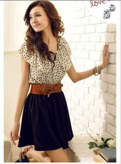 Women Chiffon Summer Short Sleeve Dots Polka Waist Mini Dress New Fashion