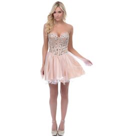 Take Time To Reflect Nude/White Strapless Tulle Cocktail Dress - Unique Vintage - Prom dresses, retro dresses, retro swimsuits.