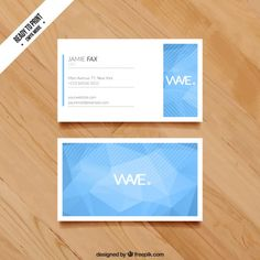 Business card with blue polygons Free Vector