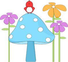 birdhouse art | Mushroom with a Bird and Flowers Clip Art Image - red bird sitting on ...