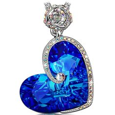 Fashion Lady Silver Eros Key Blue Heart Artificial Opal Pendant Necklace Jewelry