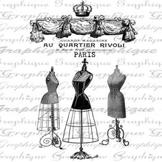 Dress Forms Crown French Text Digital Image Download by Graphique