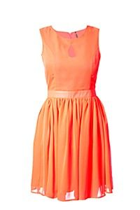SKATER DRESS in orange, perfect for a summer evening drink