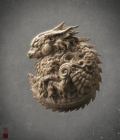 :D,HI everyone,I love ZBrush! Hope you likes this.:cool: head Modeled with zbrush,rendered with keyshot. Asian Sculptures, Beautiful Dragon, Dragon Art, Creature Design, Zbrush, Clay Art, Cool Artwork, Japanese Art, Asian Art