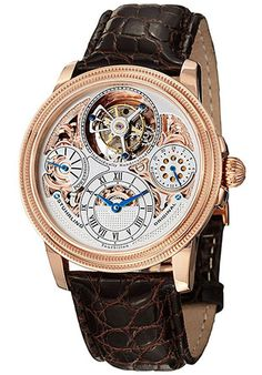 Price:$4464.00 #watches Stuhrling Original 213T.334XK2, Stuhrling Original presents the Saturnalia tourbillon. With a double barrel movement, this tourbillon watch runs for approximately 72 hours, and the dial displays a power reserve indicator at 9 o' clock. At 3 o' clock is a 24 hour indicator, and the tourbillon itself is at 12 o' clock. The strap is genuine crocodile, and is secured with a dual deployment clasp.