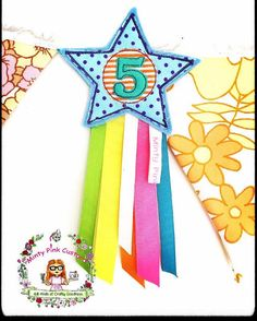 Handmade 5th Birthday Badge Star Fabric and Felt  A personal favourite from my Etsy shop https://www.etsy.com/uk/listing/552507325/5th-birthday-badge-number-badge-star