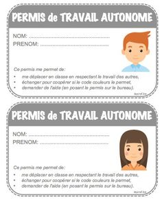 permis de travail autonome Cycle 3, Class Management, Grade 1, Montessori, Vocabulary, Projects To Try, Classroom, Twitter, School