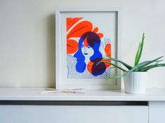 Plants  Neon Orange & Blue by KarolinSchnoor on Etsy