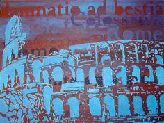 Colosseum in blue. Het is acrylverf op canvas. Het formaat is  40x30 cm en het is nog te koop.