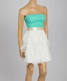 Look at this #zulilyfind! InspireMe Ivory & Seafoam Tulle Bow Strapless Dress by InspireMe #zulilyfinds