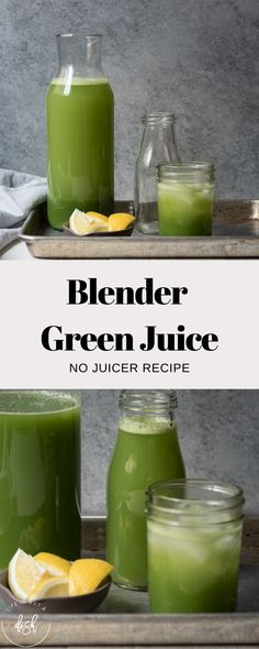 Stay healthy at home with this Blender Green Juice (no juicer needed) recipe! A refreshing and nutrient dense green juice made with a blender and a strainer. Green Juice Recipes, Healthy Juice Recipes, Juicer Recipes, Blender Recipes, Green Smoothie Recipes, Healthy Juices, Juice Smoothie, Healthy Smoothies, Healthy Drinks
