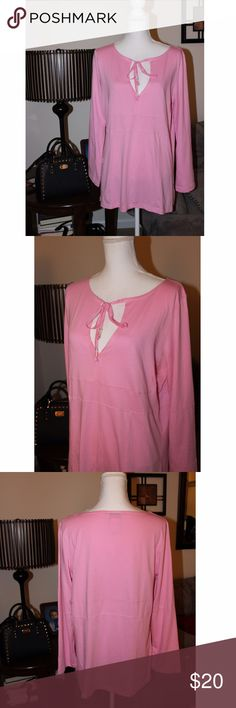 """Pink Talbots Keyhole Neck Blouse I adore this top! It is so pretty:) It has a keyhole neck that ties, a double horizontal seamed waist, and vertical seams below that. The seam detailing really make this top stand out. It is made of 100% cotton and is stretchy. Measurements: Armpit to armpit 21.5 - Waist 40"""" - Hips 43"""" - Length 28"""". It is brand new with tags from Talbots and is size Large. Talbots Tops Blouses"""