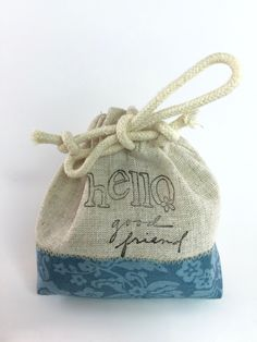 "Party Favor Bag - Stamped ""Hello good friend""- Embroidered  detail- Reusable Drawstring - Linen Look gifts, treats, jewelry and more! by SpanishVelvet on Etsy"