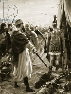 The Capture of the Emperor Valerian by Shapur I, 260 AD, illustration from 'Hutchinson's History of the Nations', 1915 (litho) Publius Licinius Valerianus (c.200-260) was a Roman noble who was chosen as Emperor in 253 AD and in 260 AD he was captured in Mesopotamia by Sasanid Shapur I (241-273) Held in a private collection.
