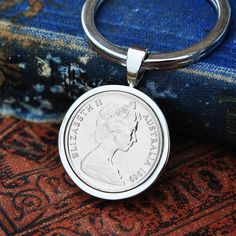 1969 50th Birthday Keyring Sixpence Coin Australian, Birth Year Key Chain, Silver Keyring, Mens Gift 60th Birthday 60th Anniversary