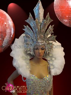 Charismatico Dancewear Store - CHARISMATICO White crystal accented showgirl's leotard, headdress, and backpack collar set, €206.08 (http://www.charismatico-dancewear.com/charismatico-white-crystal-accented-showgirls-leotard-headdress-and-backpack-collar-set/)