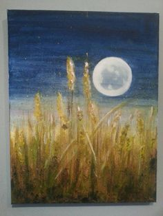 Original contempory acrylic painting, signed.  Midnight cornfield.