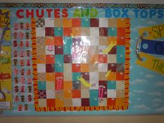 "Here's a picture of Janine McQueen's newest contest. ""CHUTES AND BOXTOPS"". For every 10 Box Tops the class moves 1 space. They have to be careful not to land on a slide, otherwise they'll lose some spaces. The first class to 100 will win a prize and bragging rights!"