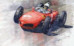 Yurly Shevchuk WATERCOLOR 1961 Germany Gp Ferrari 156 Phil Hill