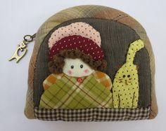 Handmade girl cat quilt applique fabric wallet coin pouch purse mini zipper bag  #Handmade #coinpurse