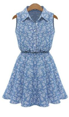 Summer blue A-line dresses Fashion Women Lady Lapel Sleeveless Casual sundress Slim Denim Dress vestidos Blue Denim Dress, Denim Shirt Dress, Denim Jeans, Sleeveless Denim Shirts, Sleeveless Dresses, Chiffon Dress, Dress Vestidos, Floral Denim, Stylish Shirts