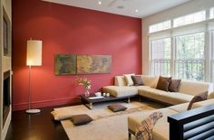 Living room design ideas in brown and beige red accent wall decorative pillows floor lamp