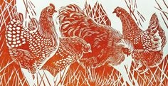 Jackie Curtis: Her work features unique monoprints and collagraphs employing textured materials such as hessian, veneers, reeds and feathers contrasting with strong designs and patterns in original linocuts, woodblocks and reduction prints.