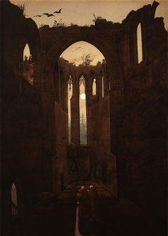 Klosterruine Oybin,  103 cm x 73 cm / 1810 (Caspar David Friedrich zugeschrieben)  [Stiftung Moritzburg - Kunstmuseum des Landes]